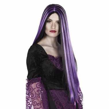 Goedkope halloween zwart paarse heksenpruik dames