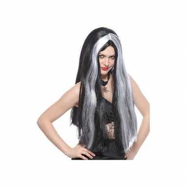 Goedkope  Heksenpruiken lang zwart/grijs