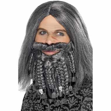 Goedkope  Heren piraten pruik grijs baard