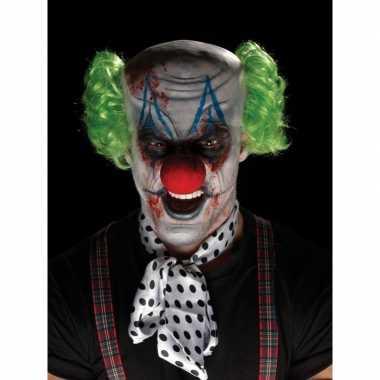 Goedkope horrorclown schmink set masker pruik