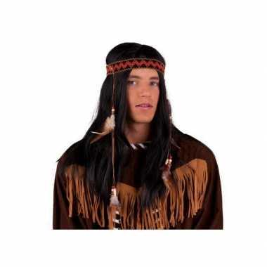 Goedkope  Indianen pruik hoofdband veren