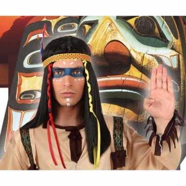 Goedkope indianen verkleed pruik veren heren