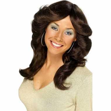 Goedkope  Jaren dames pruik bruin haar