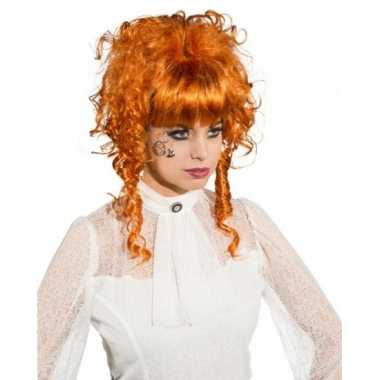 Goedkope  Koperkleurige pruik opgestoken krullend haar