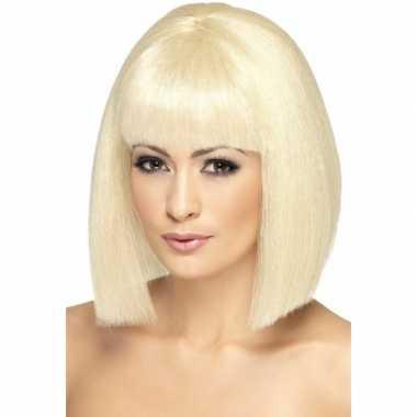 Goedkope  Korte blonde damespruik EVA