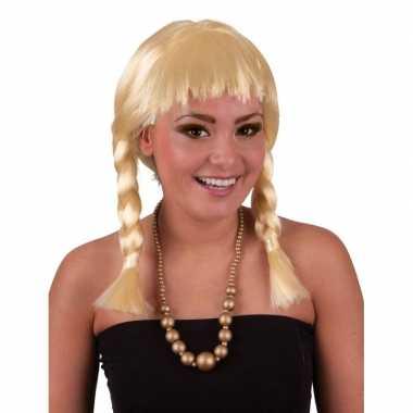 Goedkope  Korte blonde pruik vlechtjes