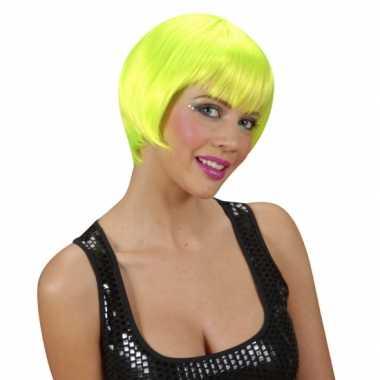 Goedkope  Korte neon groen feest damespruiken