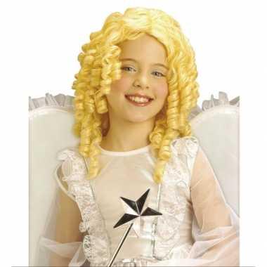 Goedkope  Krullende kinderpruik blonde kleur