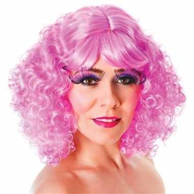 Goedkope  Krullende roze damespruiken