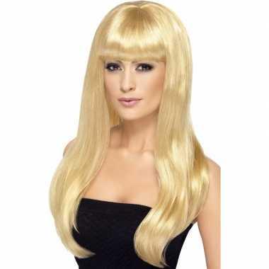 Goedkope lange blonde dames pruik pony