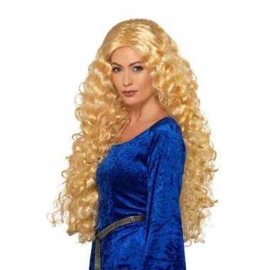 Goedkope lange blonde damespruik krullen