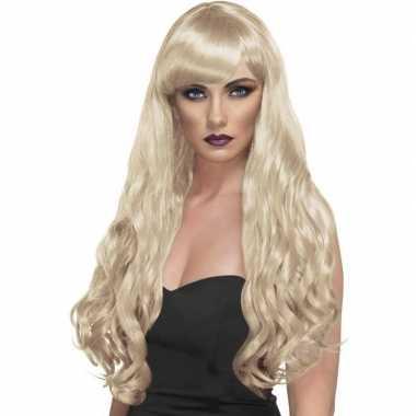 Goedkope lange blonde damespruik krullen pony