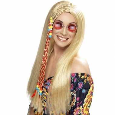 Goedkope lange blonde hippie pruik dames