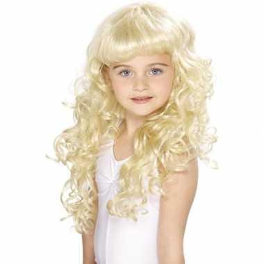 Goedkope lange blonde meisjespruik krullen pony