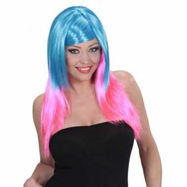 Goedkope  Lange damespruik blauw roze haar