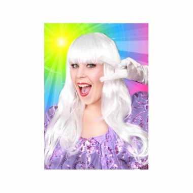 Goedkope  Lange haren pruik wit