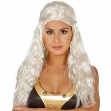 Goedkope lange wit blonde prinsessen damespruik