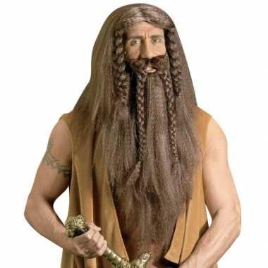 Goedkope  Luxe barbaar pruik baard snor