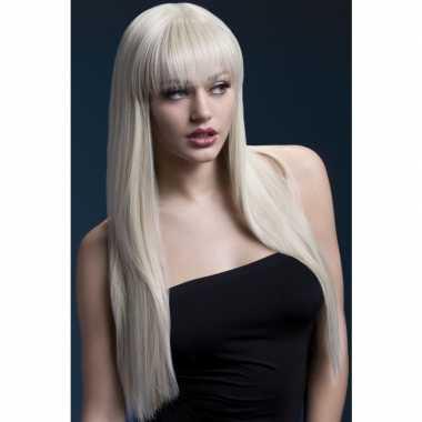 Goedkope luxe blonde lange damespruik jessica dames