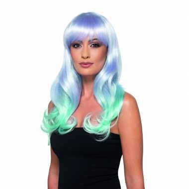 Goedkope luxe lila/turquoise lange pruik dames