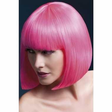 Goedkope luxe roze korte pruik elise dames