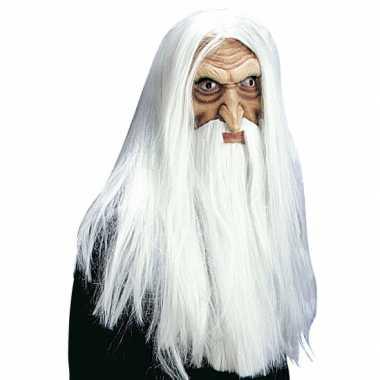 Goedkope  Luxe tovenaarsmasker pruik, snor baard