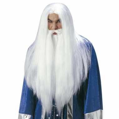 Goedkope  Luxe witte Gandalf pruik volwassenen