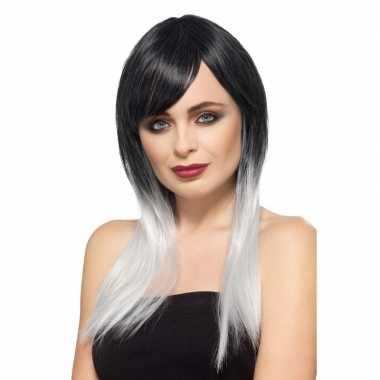 Goedkope luxe zwart/grijze steile pruik dames