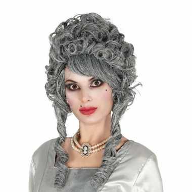 Goedkope markiezin verkleed pruik grijs dames