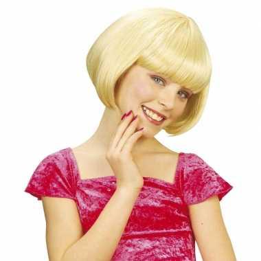 Goedkope meisjes kinderpruik blond kort haar
