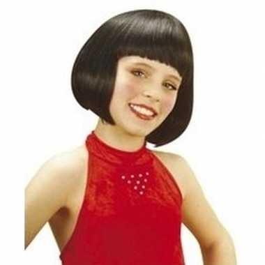 Goedkope meisjes kinderpruik zwart kort haar
