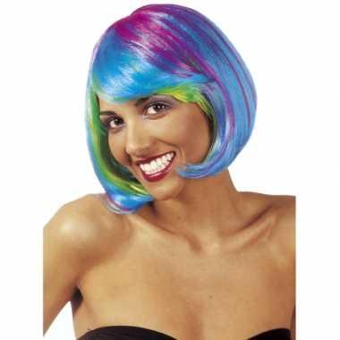 Goedkope  Multicolour boblijn dames pruik