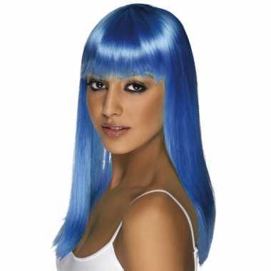Goedkope  Neon blauwe pruik dames