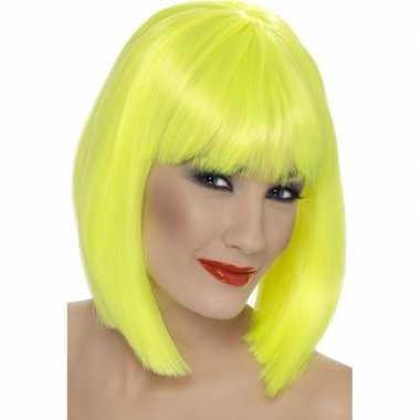 Goedkope neon gele damespruik pony