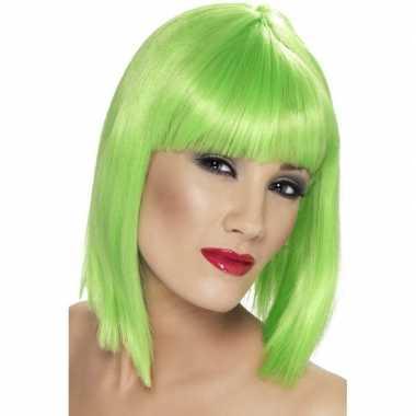 Goedkope neon groene damespruik pony