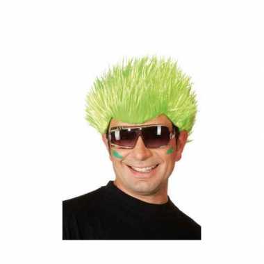 Goedkope  Neon groene pruik volwassenen
