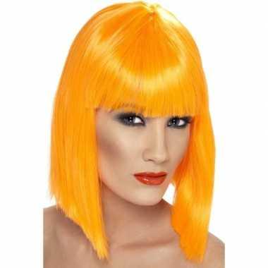 Goedkope neon oranje damespruik pony