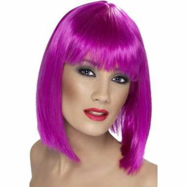 Goedkope neon paarse damespruik pony