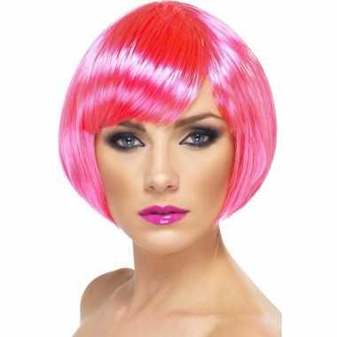 Goedkope neon roze korte dames pruik boblijn