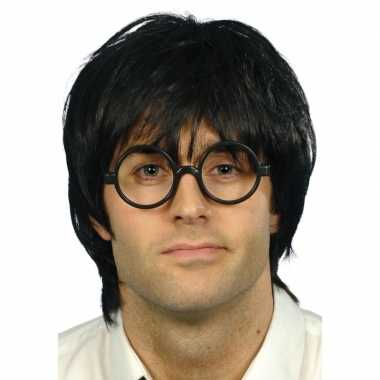 Goedkope nerd bril zwarte pruik heren