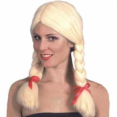 Goedkope  Oktoberfest Blonde damespruik vlechten