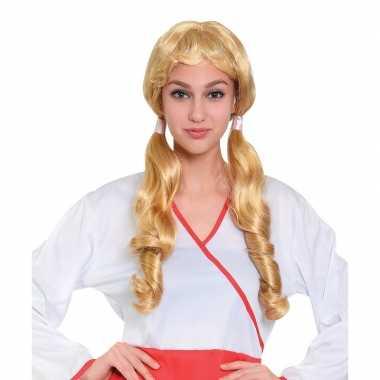 Goedkope oktoberfest blonde pruik staartjes dames