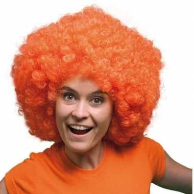 Goedkope  Oranje krulletjes pruik mega afro