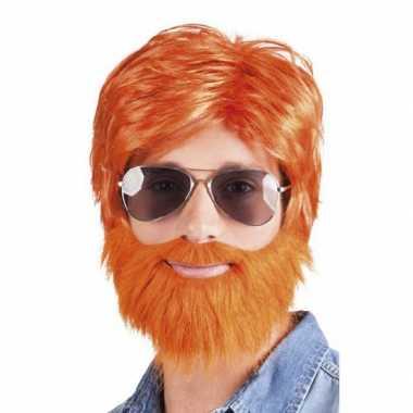 Goedkope  Oranje pruik baard snor