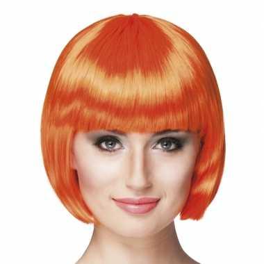 Goedkope  Oranje pruik boblijn danmes