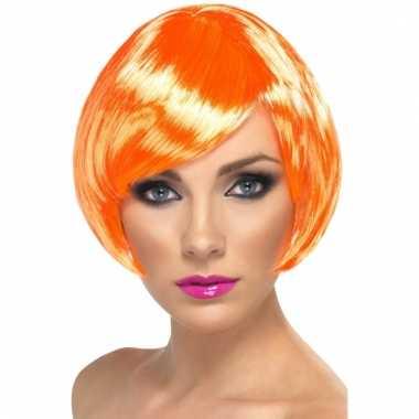 Goedkope  Oranje pruik hippe boblijne