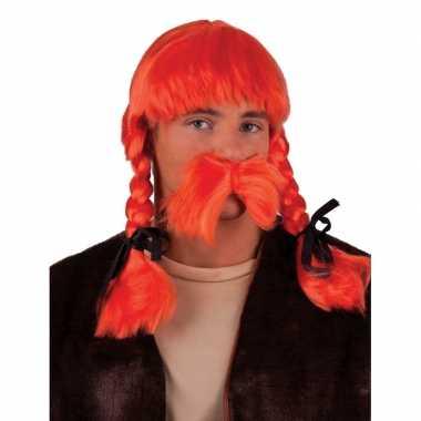 Goedkope oranje pruik snor set