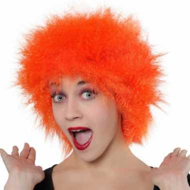 Goedkope oranje pruik wild haar