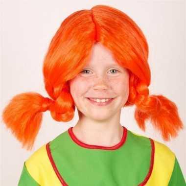 Goedkope oranje vlechten pruik kinderen