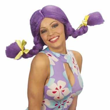 Goedkope paarse dolly pruik dames